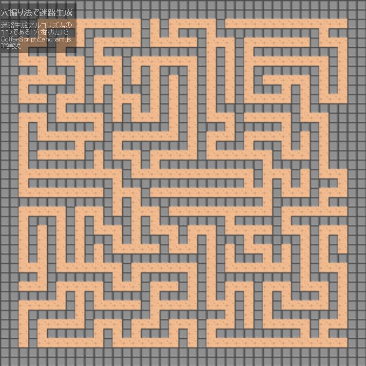 迷路の自動生成アルゴリズム「穴掘り法」をCoffeeScriptとenchant.jsで実装してみた