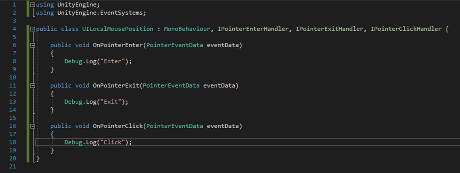 特定のUI要素上でマウスのローカルポジションを見つける