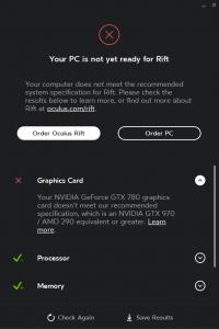 "Oculus Rift ""VR not ready"" (PC 動作スペック確認 ビデオカード)"