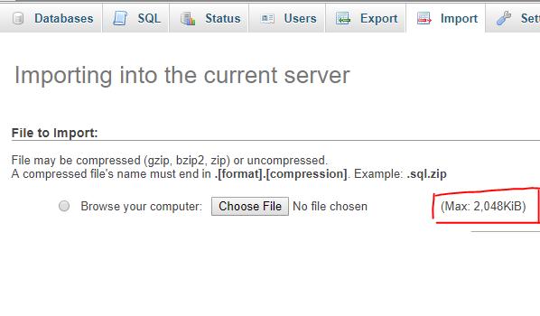 Large SQL imports in phpMyAdmin (LINUX server)
